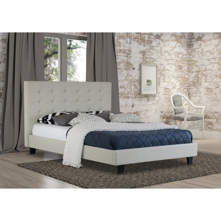 Queen Bed.Alexis Queen Bed Frame Fabric White