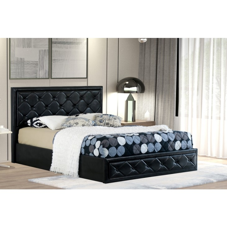 Prime Sephora Queen Gas Lift Ottoman Storage Bed Frame Pu Leather Black Gamerscity Chair Design For Home Gamerscityorg
