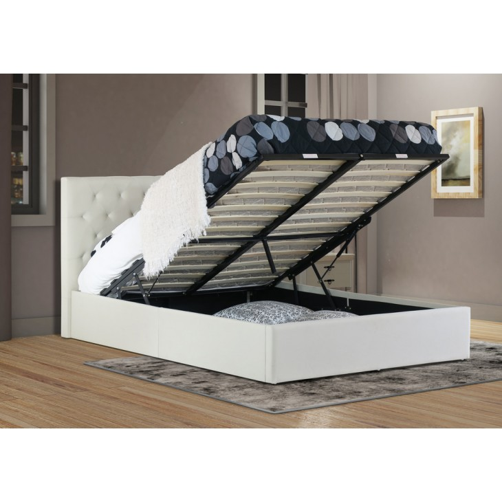 Outstanding Chester Queen Gas Lift Ottoman Storage Bed Frame Fabric Beige Gamerscity Chair Design For Home Gamerscityorg