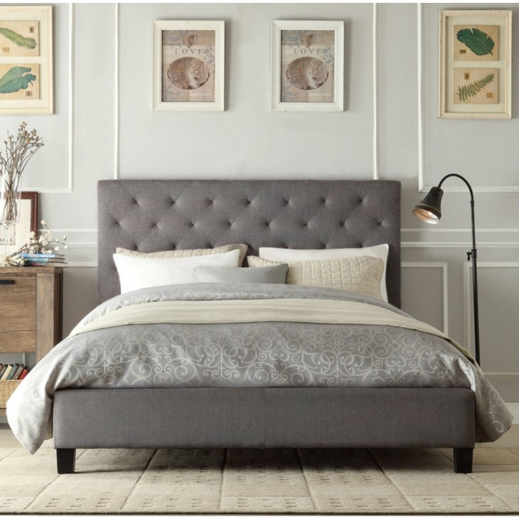 Queen Bed.Chester Queen Bed Frame Fabric Grey