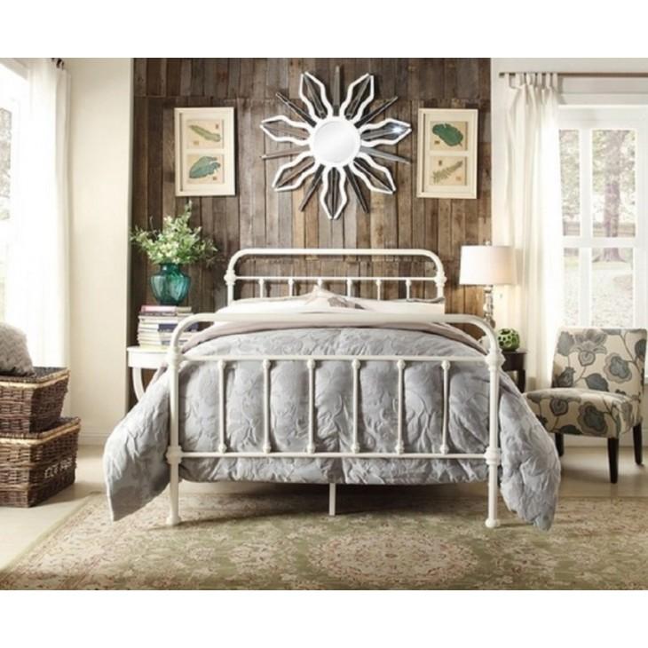 Monaco Queen Bed Frame Metal White, Monaco Queen Bed Frame