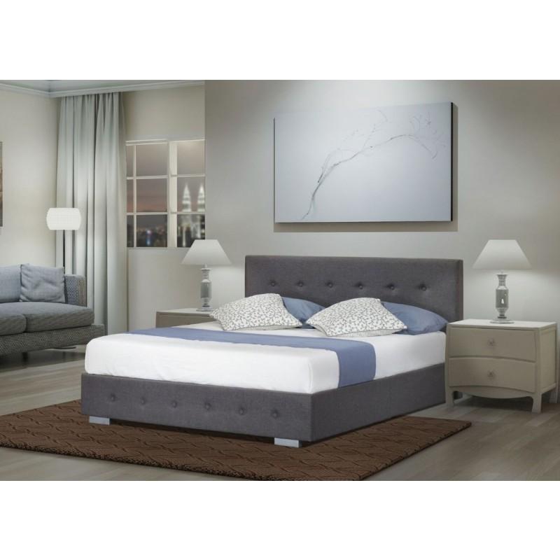 Nicole King Gas Lift Ottoman Storage Bed Frame Fabric Grey