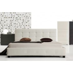 05663e5bcd4 Milan King Bed Frame Pu Leather White