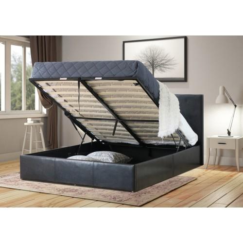 832066a298e Prada King Single Gas Lift Ottoman Storage Bed Frame Pu Leather Black